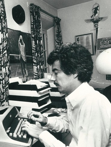 Young Ken Follett at his desk
