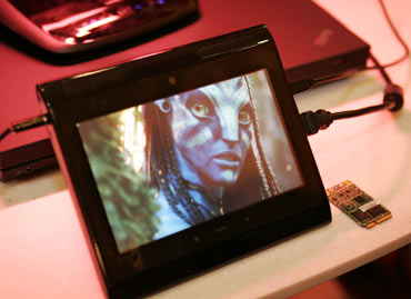 A prototype Internet tablet plays an Avatar movie trailer being streamed in 1080p high definition over a 4G LTE wireless network at the 2010 International Consumer Electronics Show (CES) in Las Vegas