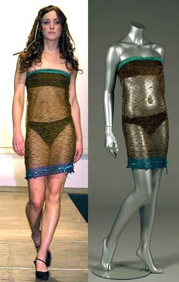 Kate Middleton catwalking in the dress back in 2002 and (right) displayed on a mannequin before it goes up for auction