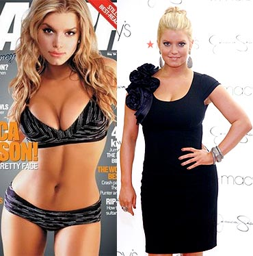 Jessica Simpson back in 2004 and (right) now