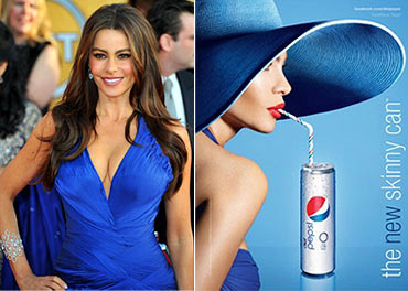 Sofia Vergara and (right) her new ad for Pepsi