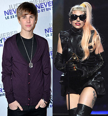 Justin Bieber and (right) Lady Gaga