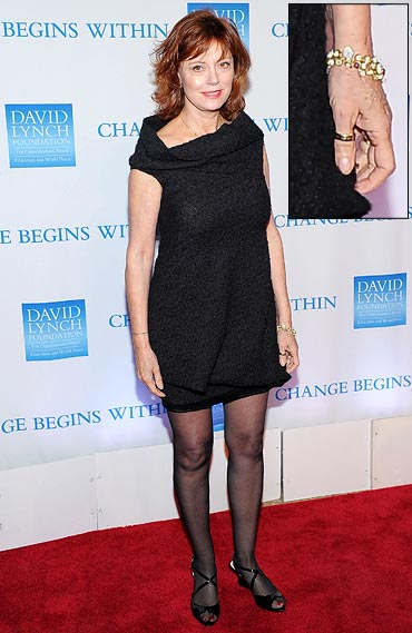Susan Sarandon and (inset) her bracelet