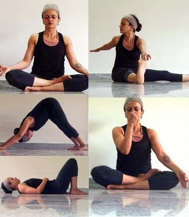 A collage of yoga poses to lower blood pressure