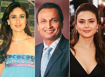 Kareena Kapoor, Anil Ambani and Preity Zinta