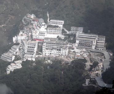 An aerial view of Vaishno Devi