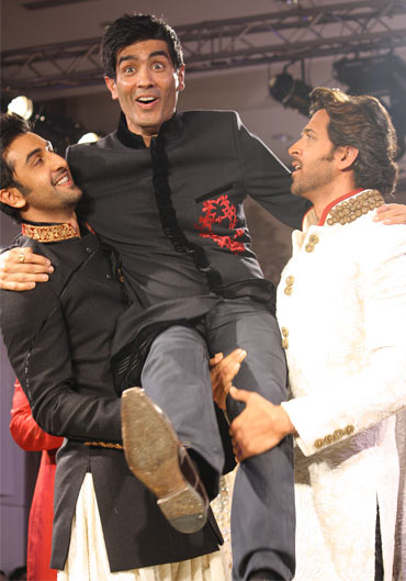 Manish Malhotra with Ranbir and Hrithik