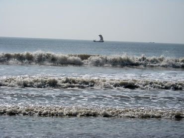 The surf comes in