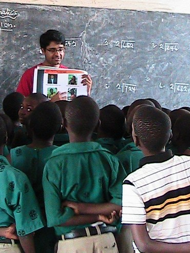 Mohit Agarwal, one of the winners, teaches a class of students in Ghana