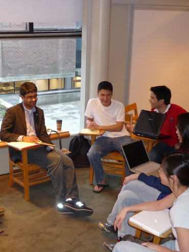 Mohit Agrawal, Hank Song, Daniel Condronimpuno, Jane Yang, and Candice Tsay at an EWB meeting
