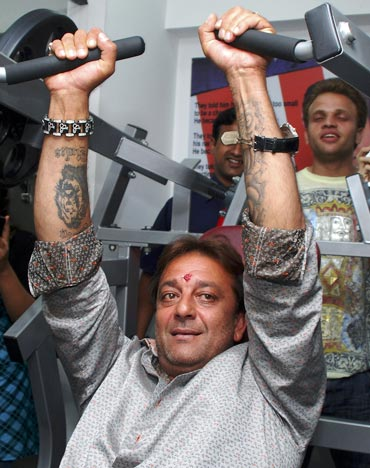 Bollywood actor Sanjay Dutt uses gym equipment
