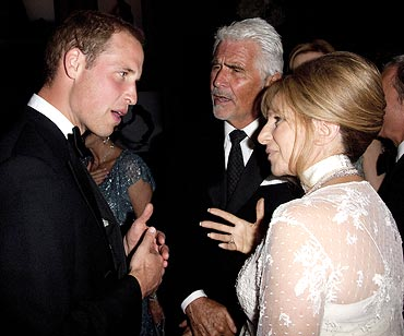 Prince William in conversation with Barbara Streisand and her husband James Brolin at the 2011 BAFTA Brits To Watch Event on July 9, 2011