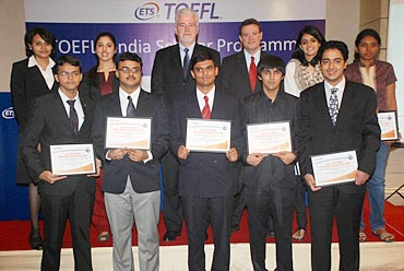 Top (L to R): Winners Sruthi, Gaayathry, Dr. Walt MacDonald and Mr. Chuck Melly (of ETS), Apurva and Pradhayini; Bottom (L to R): Omkar, Debajyoti, Dinakar, Naveed and Karanveer