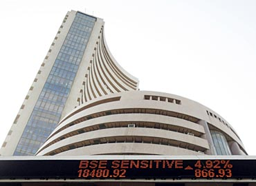 India's benchmark share index is displayed on the facade of the Bombay Stock Exchange (BSE) building in Mumbai