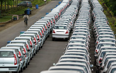 New cars awaiting despatch at Tata Motor's plant in Pune