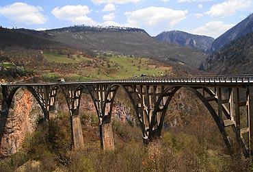 The Djurdjevica Tara Bridge on Tara River, Montenegro.