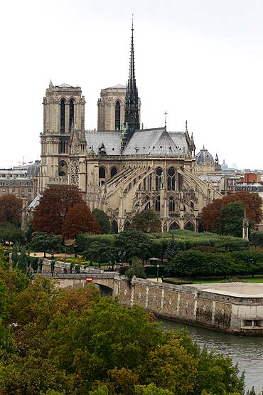 General view of the Notre Dame Cathedral and the River Seine in Paris.