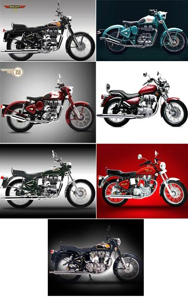 A collage of the latest and the retired Bullet models from Royal Enfield