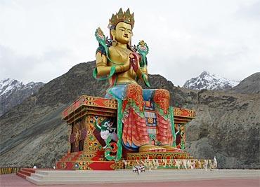 The 32 metre statue of Maitreya Buddha near Diskit Monastery.