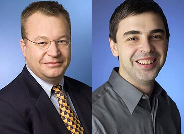 Nokia's Stepheb Elop and Google's Larry page