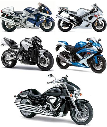 A collage of Suzuki's greatest bikes