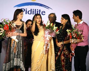 (L-R) Nita Ambani, Kajol, Shaina NC and Manish Malhotra