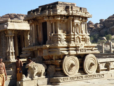 The Stone Chariot , one of the most beautiful pieces of architecture, is actually a temple carved out of stone in the shape of a chariot.