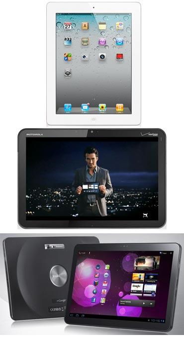 A collage of iPad 2, Motorola Xoom, Samsung Galaxy Tab and iPad