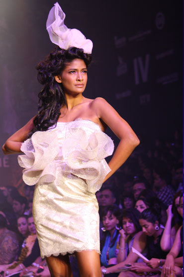 Carol Gracias in a Gauri and Nainika creation.
