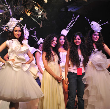 Designers Gauri and Nainika at Lakme Fashion Week grand finale.