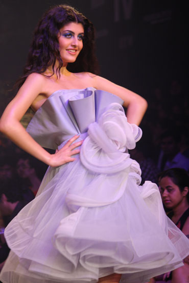 A model in a Gauri and Nainika creation.