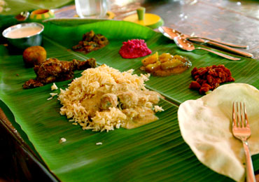 Chettinad cuisine on a banana leaf