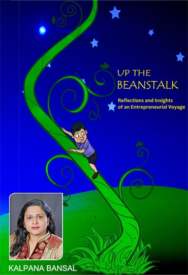 Book cover of Up The Beanstalk; Inset: Kalpana Bansal