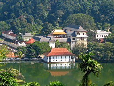 The Temple of the Tooth in Kandy in Sri Lanka reputed to to contain an actual tooth of the Buddha
