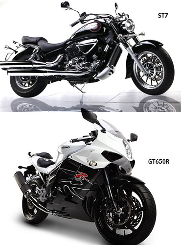 A collage of Hyosung GTR650 and ST7