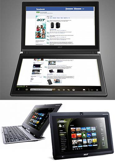 Acer Iconia Dual Screen notebook and Iconia Tab W500.