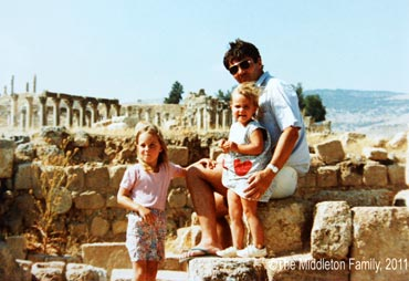 Kate Middleton (left) and Pippa with their father Michael in Jerash, Jordan. The Middletons moved to Amman in Jordan for two-and-a-half years from May 1984 to September 1986