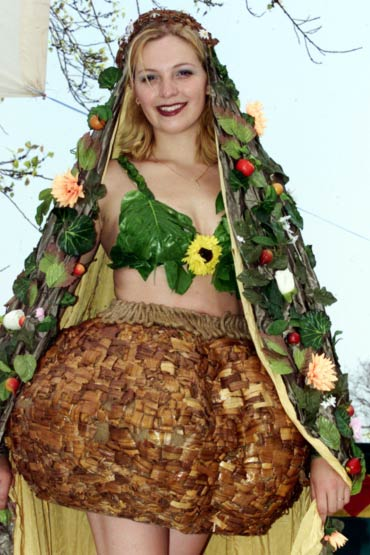Dutch model Jasmijn displays garments made out of fruits