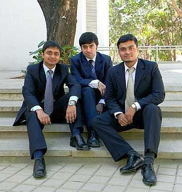 From left: Abhinav Jain, Gandharv Bakshi and Nitin Bahaduria