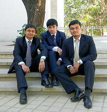 From left: Abhinav Jain, Gandharv Bakshi and Nitin Bahaduria