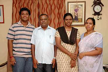 From left: Divyadrashini's brother, father and mother