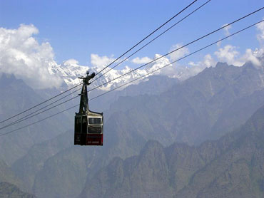 Mridula Dwivedi on the ropeway to Auli.