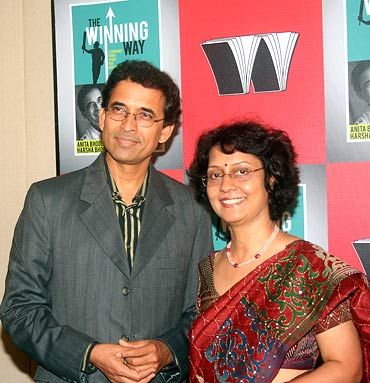 Authors of The Winning Way: Anita and Harsha Bhogle