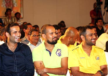 From left: Irfan Pathan, Yusuf Pathan and Mahendra Singh Dhoni
