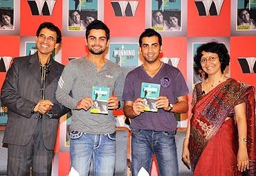 From left: Harsha Bhogle, Virat Kohli, Gautam Gambhir and Anita Bhogle