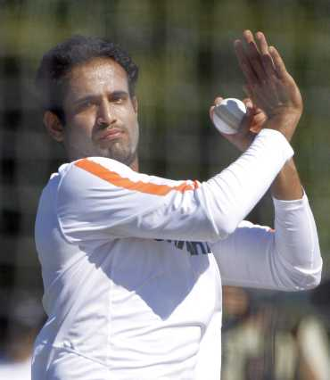 Irfan Pathan bowls in the nets during India's training