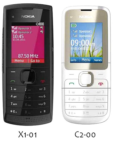 Nokia's low-cost dual SIM phones: X1-01 and C2-00
