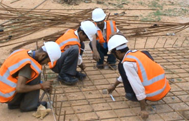 Rural youth trained by Pipal Tree at a construction site