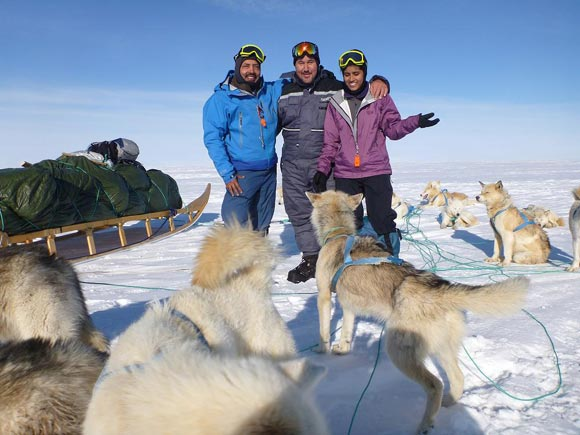 (LtoR): Ajeet Bajaj with a Trans-Greenland Ski Expedition crew member and Deeya