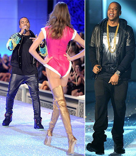Kanye West and (right) Jay-Z perform at the Victoria's Secret fashion show